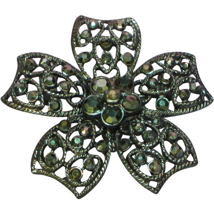 50% OFF SALE Rhinestones Hematite Black Japanned Floral Pin Brooch
