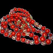 Vendome Vendôme, Crystal Art Glass Red Necklace and Earrings Set Demi Parure