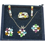 Gemstones NOS Boxed Set of Necklace and Earrings and a Ring and Earrings Sterling Silver Set Demi Parure
