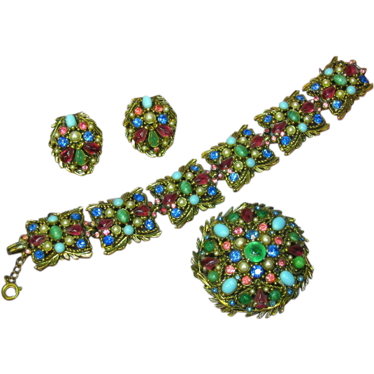 Hollycraft Phenomenal Multi Colored Rhinestones Gripoix Glass Faux Turquoise and Pearl Bracelet Earrings Brooch Pin Demi Parure