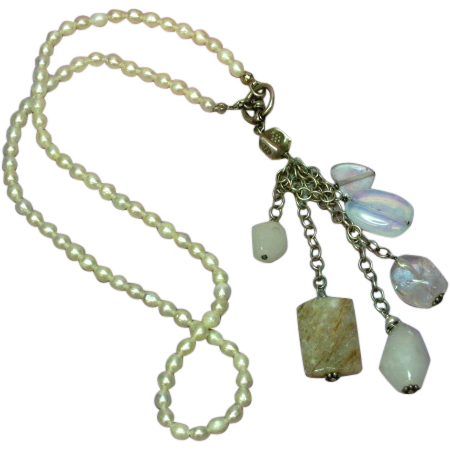 Pearls Cultured Sterling Silver Gemstone Dangle Necklace