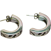 Sterling Silver Cut Out Half Hoop Pierced Earrings