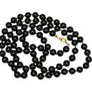 "Jade Black Beads Yellow Gold Filled Findings 30"" Estate Necklace"
