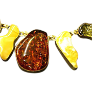 Amber Four Colors, Big Solid Chunks, Sterling Silver,Breathtaking Necklace