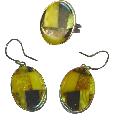 Amber Baltic Fantastic Inlay Sterling Silver Ring and Earrings