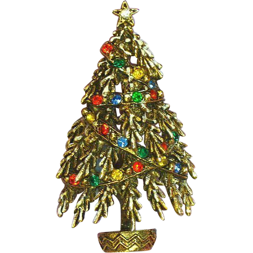 Art Signed Frosted Christmas Tree Pin, Brooch