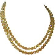 Crystal Leaded Germany Fancy Cut  A/B Double Strand Necklace