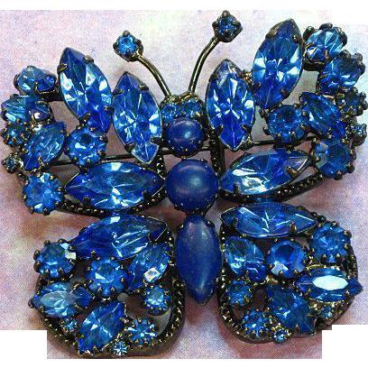Japanned Black Metal Blue Rhinestone Butterfly Pin Brooch