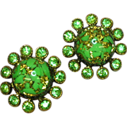 Rhinestones Green Foiled Art Glass Clip Earrings