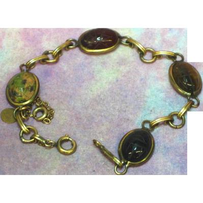 Vintage 14k Gold Filled Semi-Precious Stone Scarab Bracelet