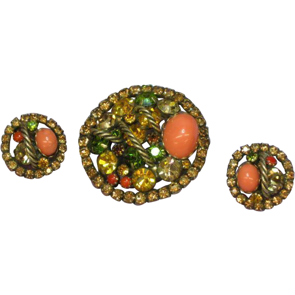 Rhinestones Golden Topaz ,Coral Exceptional Vintage Estate Brooch,Pin and Earrings Demi Parure