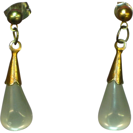 Moon Glow Fun and Fabulous Gray Lucite Drop Pierced Earrings