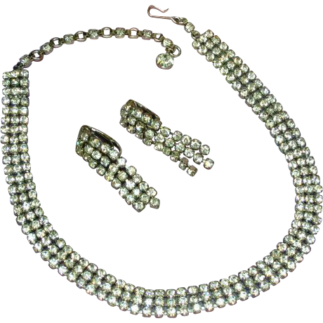 Sherman Signed Vintage Swarovski Crystals Rhinestones Necklace and Earrings Set Demi Parure