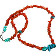Turquoise Nugget and Natural Coral Delicate Petite Necklace Native American Indian