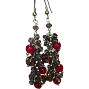 Ruby Faceted Amethyst Hand Wired Sterling Silver Victorian Revival Dangle Pierced Earrings
