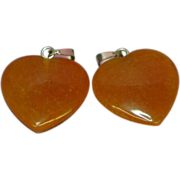 Carnelian Agate Set Of Two Polished Genuine Stone  Heart Shaped Charms Pendants