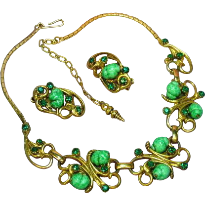 Rhinestones Art Glass Beads Heavy Gold Plate Necklace and Earrings Demi Parure.