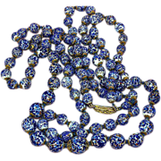 Murano Italy Double Strand Art Glass Beads Hand Knotted Luxurious Necklace