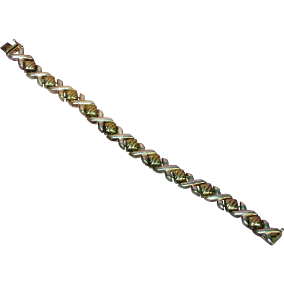 Sterling Silver Hugs and Kisses Link Bracelet