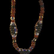 "Art Glass African Trade Beads Long 26"" Glass Necklace"