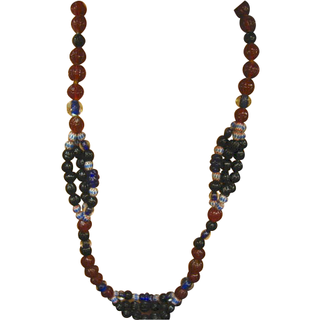"Art Glass African Trade Beads Long 26"" Glass Necklace"