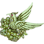 Rare Marcel Boucher Book-Piece Rhinestone Bird of Paradise Sitting on a Pearl Nest Brooch
