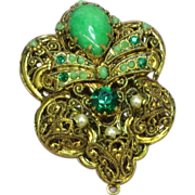 West Germany Green Art Glass Rhinestone Elaborate Filigree Pendant Brooch, Pin