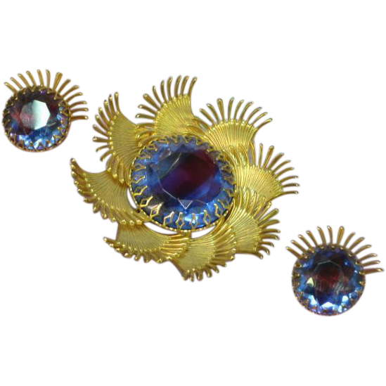 Art Glass Givre  Glorious Large Brooch and Earrings Demi Parure