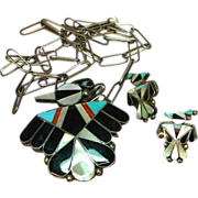 Zuni Signed,Sterling Silver,Pendant/Pin with Inlay Necklace Chain,and Earrings