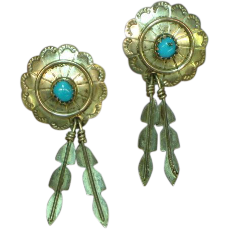 Native American Indian Sterling Silver Hand Fashioned Concha Design Pierced Earrings