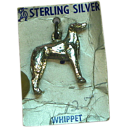Whippet Dog Sterling Silver on Original Card Charm