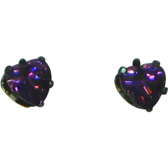 Heart Purple Crystal Sterling Silver Pierced Earrings