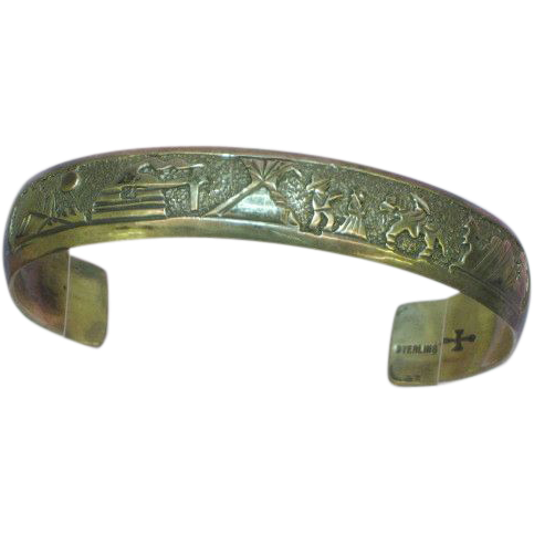 Traditional Native American Storyteller Sterling Silver Cuff Bracelet