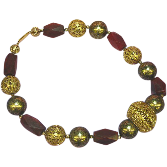 Horn Carved Big Filagree Beads Ethnic Boho Tribal Enchanting Necklace