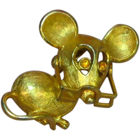 50% OFF SALE Mouse  with Movable Eyeglasses Gold Tone Pin Brooch