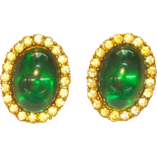 Rhinestones Glowing Green, Jelly Belly Cabochons,Patent Pending, Clip Earrings