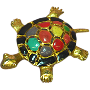 50% OFF SALE Enamel Turtle Large Fun Fellow Pin Brooch