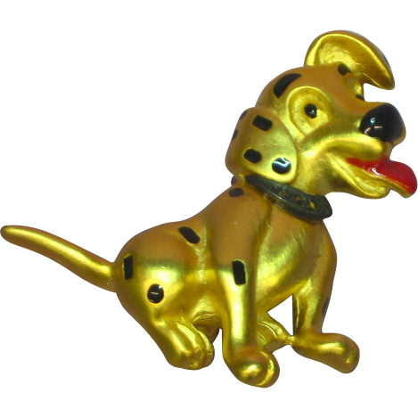 Disney Marked Dalmatian Dog Enamel Gold Tone Pin Brooch
