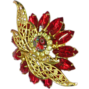 D&E Vintage Fantastic Red Rhinestone Unsigned Designer Quality Dimensional Brooch