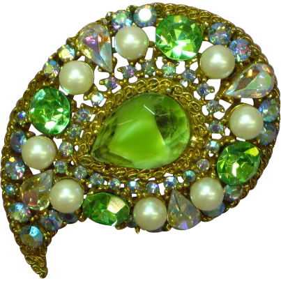 Art Signed  Givre Glass A/B Rhinestones and Pearl Pin Brooch