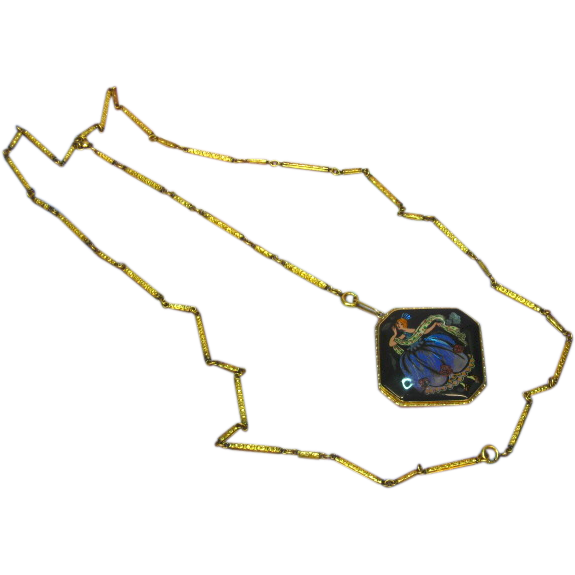 9 ct Yellow Gold Link Chain with 9 ct Morpho Butterfly Wing Pendant Necklace