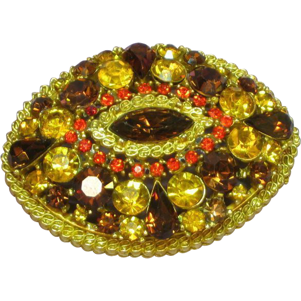 Art Signed Topaz Yellow Orange Delicious Rhinestones Designer Pin Brooch.
