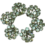Austrian Clear Rhinestones Heavy Rhodium Plate Circle Brooch.