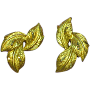 50% OFF SALE Coro Diamond Cut Gold Tone Tailored Leaf Clip Earrings