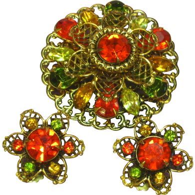 Rhinestones Green Orange Yellow Fall Brooch Pin Earrings Demi Parure