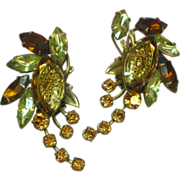 Judy Lee Reverse Carved Glass Specialty Rhinestone Earrings