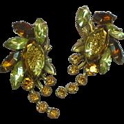 Judy Lee Reverse Carved Glass Specialty Rhinestone Earrings