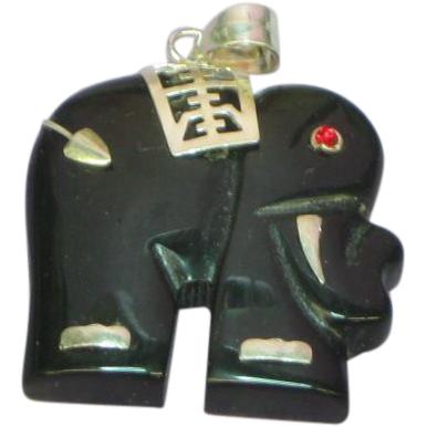Black Onyx Elephant with Ruby Eye Sterling Silver Pendant