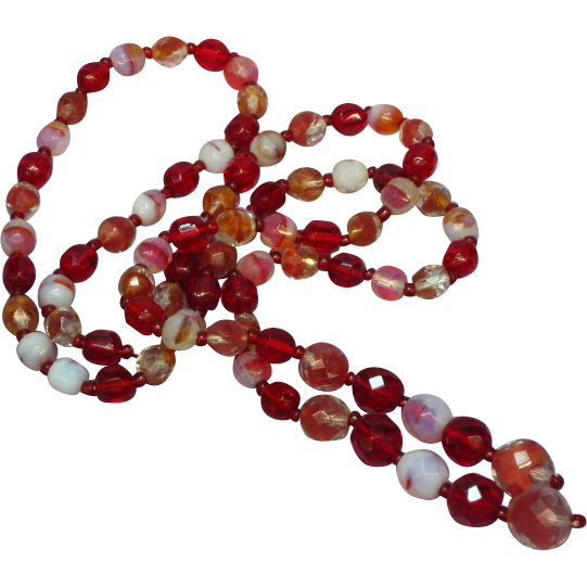 "HOLD for MARIE Venetian Glass Givre Glass Murano Italy All Glass 31"" Bead Lariat Necklace"