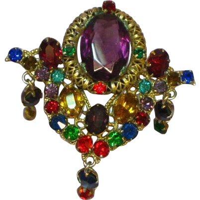 Rhinestones Elaborate Large Royal Jewel Colors Dangle Pin Brooch